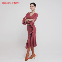 Women Latin Dance Suits Sexy Backless Tops+ Kick Pleat Silk Ribbon FishTail Skirt 2pcs Set For Latin Dancing Performance Clothes