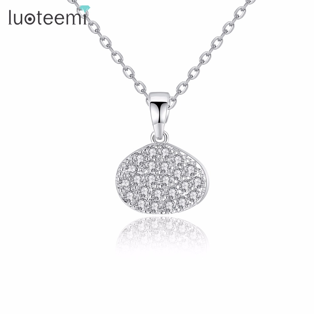 LUOTEEMI High Quality Brand Fashion Chain Necklace Oval Pendant Noble Bright Clear Copper CZ Crystal Bride Party Jewelry Gift