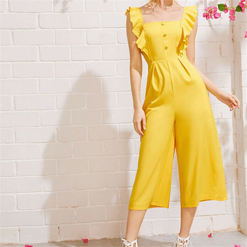 New Arrival Fashion Women Sleeveless Solid Yellow Ruffles Sleeve Slim Waist Wide Leg Pant Jumpsuit Romper Casual Clubwear