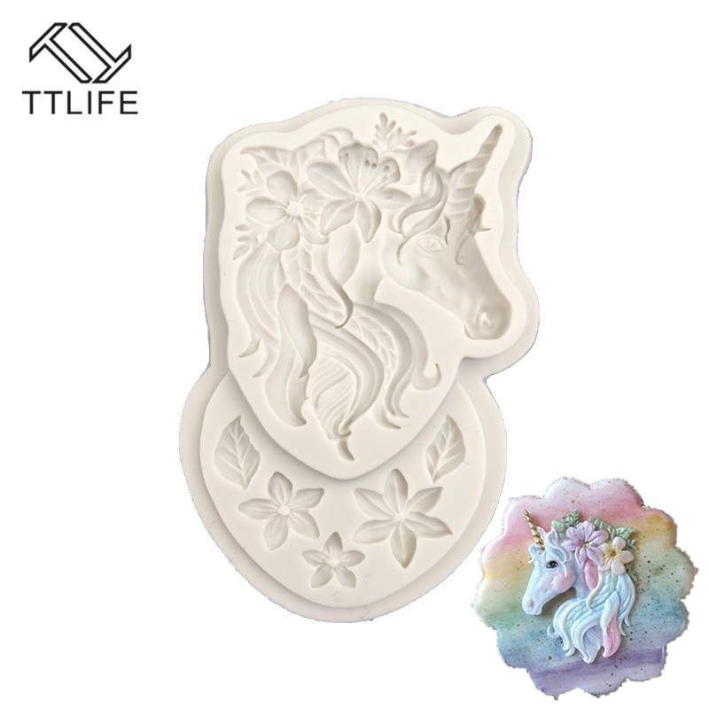 TTLIFE Unicorn Head Flower Baking Silicone Mold Cake Decoration DIY Fondant 3D Silicone Mold Chocolate Mold