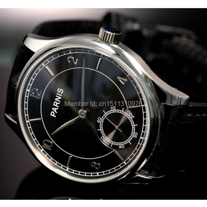 44mm parnis black dial ST 6498 Mechanical manual wind mens watch P31 цена и фото