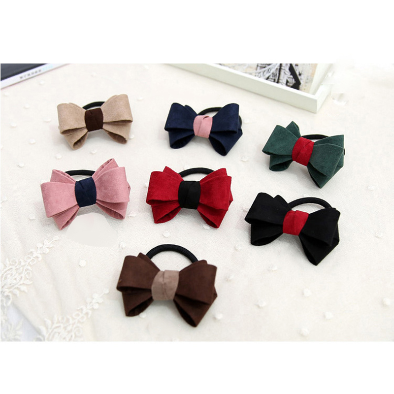 Bowknot Elastic Hair Ties Ponytail Holders Women Girls Scrunchy Colorful Rubber Scrunchy Hair Ornament Hair Style Accessories