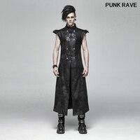 Punk Placket Pu Leather Visual Kei Buckle Black Long Vests popular Armor Coating Crack Woven Men Vest coat PUNK RAVE WY 1018MJM