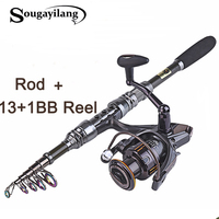 Sougayilang 1.8 3.0m Carbon Telescopic Carp Fishing Rod Sets and 14BB Metal Spoon Reel Lure Spinning Fishing Reel Pesca