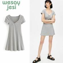 2019 New Summer short-sleeved hip women dress nightclub short Solid Mini Dress Short SleeveSlim V-collar sexy