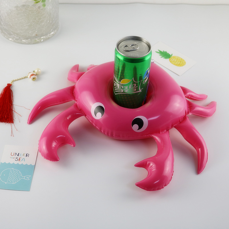 Party Decoration Mini inflatable Unicorn Flamingo crab Drink Float Cup Holder rainbow PVC Swimming Pool Bathing Beach Kids Toy