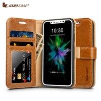 Jisoncase Portemonnee Case voor iPhone X Case Cover Lederen Folio Flip Pure Kleur Mobiele Telefoon Gevallen voor iPhone X Kaartsleuf