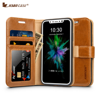 Jisoncase Wallet Case for iPhone X Case Cover Genuine Leather Folio Flip Pure Color Mobile Phone Cases for iPhone X Card Slot
