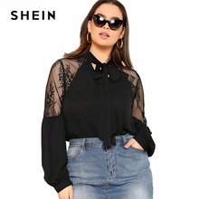 SHEIN Lace Insert Tie Neck Bishop Sleeve Top 2018 Summer Stand Collar Long Sleeve Office Lady Blouse Women Plus Size Elegant Top