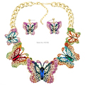 MS18068 Fashion Brand Jewelry Sets Butterfly Necklace Earring Set Red Necklace High Quality Bridal Jewelry Party Gifts
