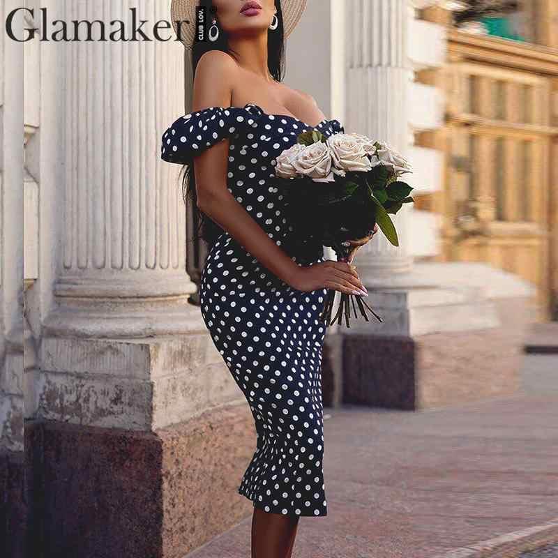 Glamaker Polk dot винтажное облегающее платье Макси женское сексуальное летнее платье миди с открытыми плечами женские вечерние платья с пуш-ап vestidos
