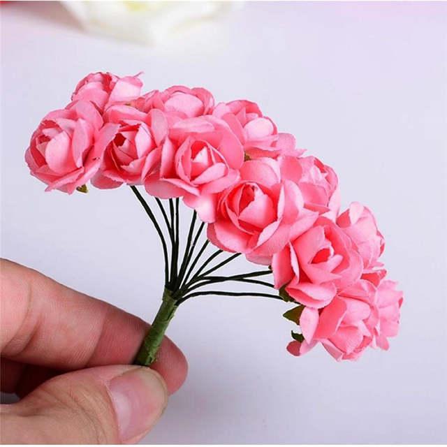 144pcs Mini Artificial Rose Flowers Bouquet Wedding Decoration Paper Flower For Diy Scrapbooking Flower Ball Cheap Flores