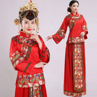 Dance Costumes Hmong Clothes Chinese Bride Dress Show Wedding Toast Clothing Cheongsam Long Sleeve Kimono For Pregnant Women
