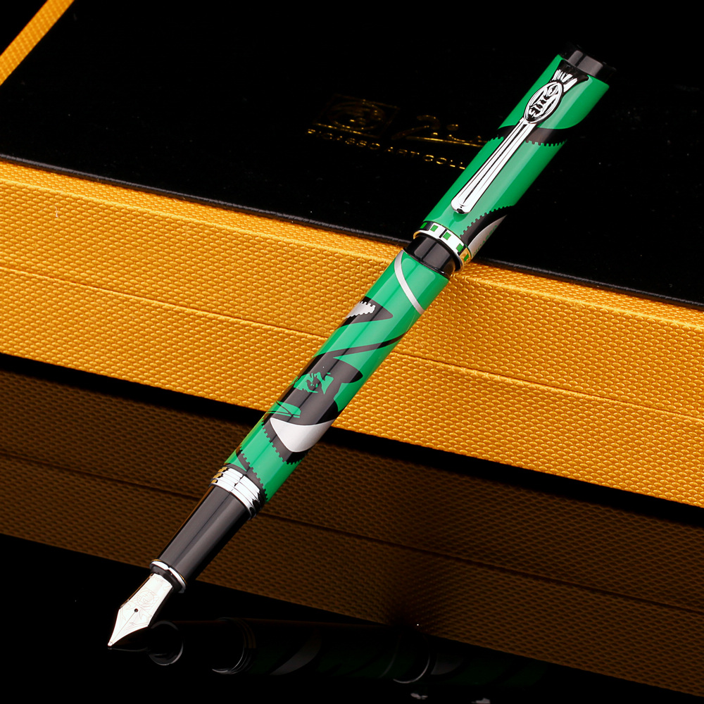 Pimio927 Fashion Gift Pens Green White Fountain Pen F Nib 0.5mm Ink Pens with Exquisite Pattern Gift Case School Office Supplies