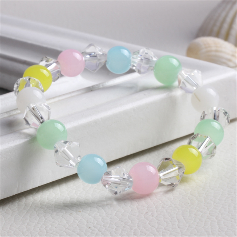 new colorful nature stone beads bracelets glass crystal vintage charms Pulseira for women men bracelets fashion jewelry gifts
