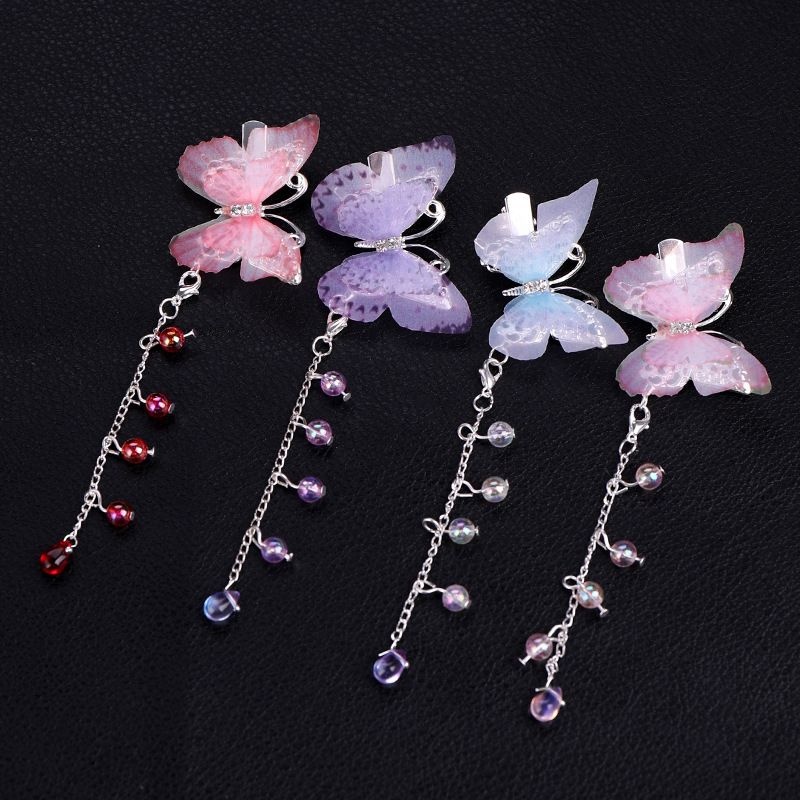 Fairy Butterfly Hairpin Headwear Girls Sweet Head Flower Hair Accessories Antique Accessories Color Tassel Hair Clip For Wedding