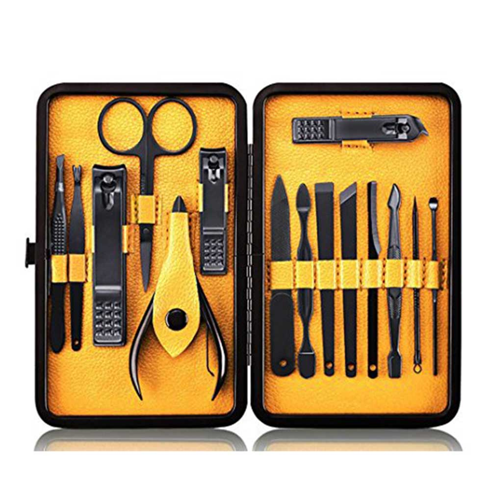 3 Colors 15 Pcs Stainless Steel Nail Clipper Grooming Kit Manicure Pedicure Tools Set with Case Dropshipping