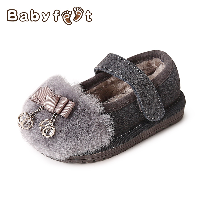 Babyfeet Winter children flat lazy shoes slip on bowtie 0-3 Years old baby girl infant sneakers princess loafers Toddler shoes babyfeet 2017 winter children shoes fashion warm suede leather sport running school tenis girl infant boys sneakers flat loafers