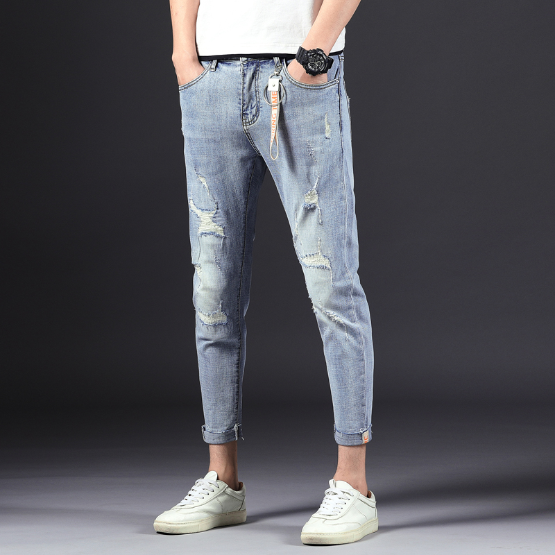 2019 New Fashion Jeans Men Korean Style High Quality Stretchy Light Blue Ripped Denim Pants Casual M