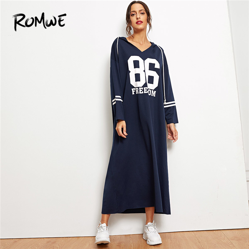 695e8e9efa92 ROMWE Green Letter Print Side Split Sweatshirt Dress Women Casual Autumn  Round Neck Long Sleeve Clothing Female Long Shift Dress