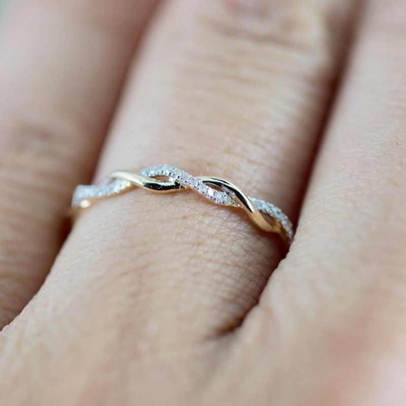 1 шт., женское модное кольцо из розового золота, хрустальное крученое кольцо, модное изысканное свадебное ювелирное изделие, аксессуары, лучшие кольца, подарки