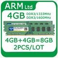 Wholesale 2pcs/lot 4GB+4GB=8GB RAMS DDR3 PC3-12800 1333MHz 1600MHz Memory For Desktop ram For AMD