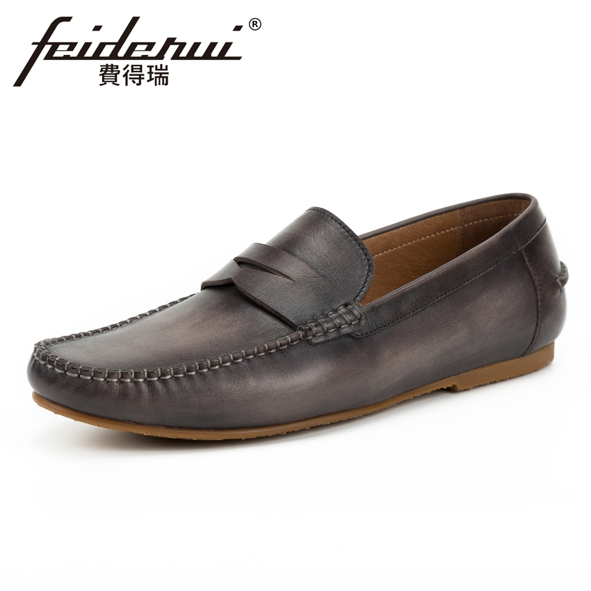 High Quality Genuine Leather Men's Comfortable Moccasin Loafers Round Toe Slip on Flat Handmade Man Driving Casual Shoes KUD170 nayiduyun women genuine leather wedge high heel pumps platform creepers round toe slip on casual shoes boots wedge sneakers