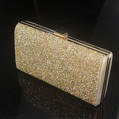 XIYUAN BRAND Ladies flat Gold Crystal Shoulder Bag Evening Box Clutch Handbags Purses Women Party Bridal Wedding Silver bags