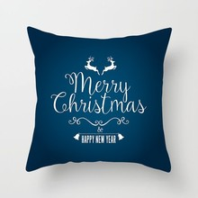 цена на Merry Chritmas Blue Throw Pillow Case For Living Room Simple Cartoon Pillow Cover Snowman Pattern Polyester Cushion Cover 1 Pc