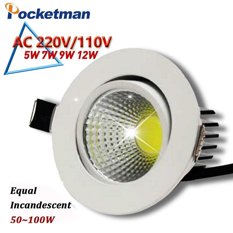 12 Вт 9 Вт 7 Вт светодиодный светильник светодиодный чип COB светильник встраиваемый ceilinglight светодиодный пятно света лампы белый/ теплый белый ...