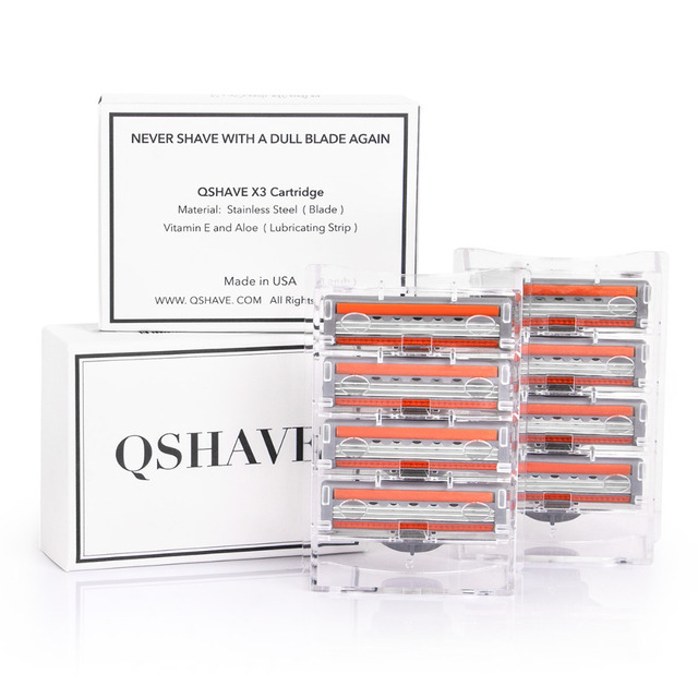 QShave Orange Series 3 Layer Razor Blade Refill Men Manual Shaving X3 Blade 4 Cartridges can choose IT 8 and 16 Cartridges 5