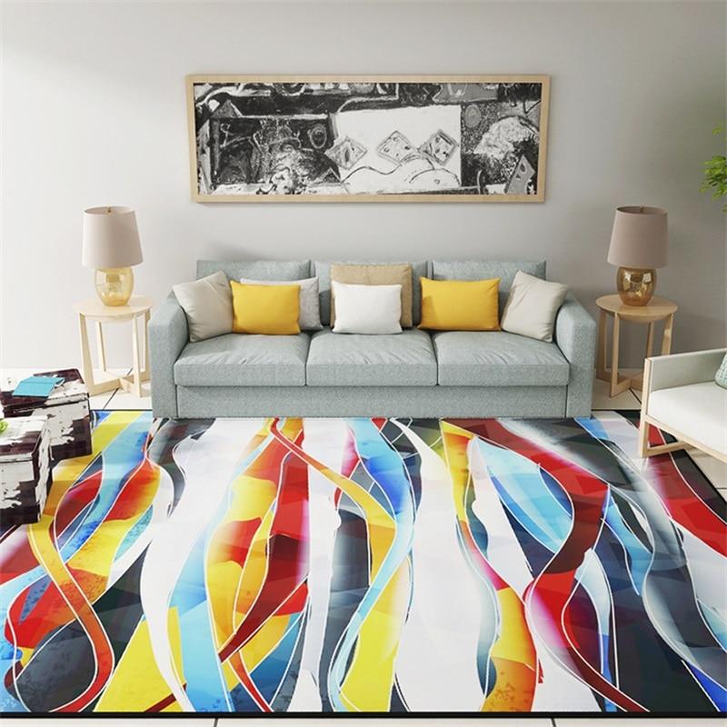 €17.51 13% de réduction|Moderne coloré abstrait dessin peinture salon salon  décoratif tapis plancher pied tapis Pad salle de bains cuisine zone ...