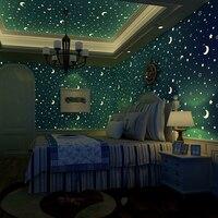 3D Luminous Romantic Stars Moon Wallpaper For Walls Boys Girls Children Room Non woven Printed Ceiling Fluorescent Wall Covering