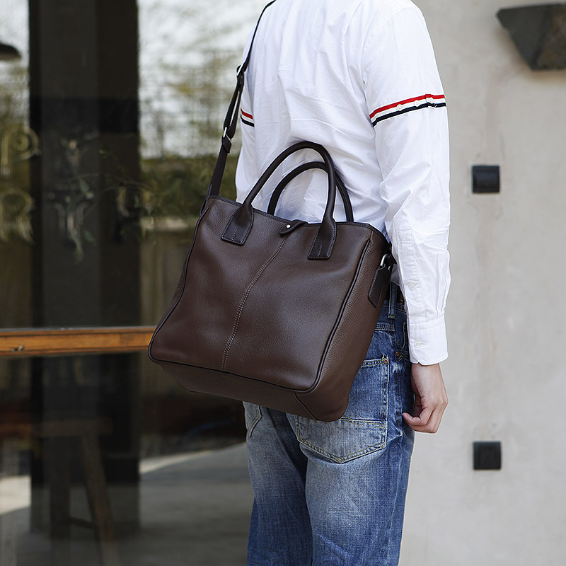 LAN Mens genuine leather handbag concise leisure business bag Large TOTE bag