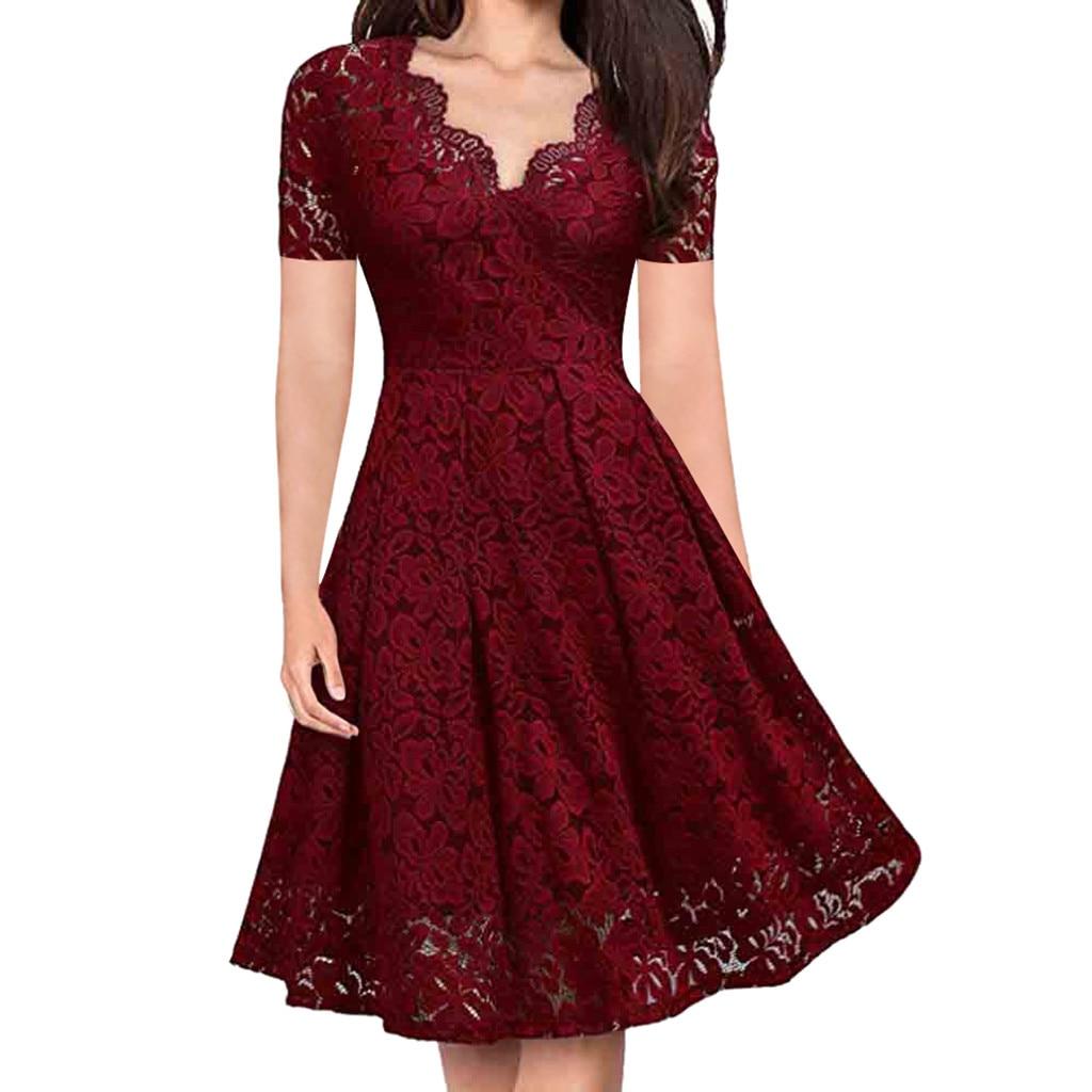 Летнее платье женское ТРАПЕЦИЕВИДНОЕ с v-образным вырезом с открытыми плечами кружевное вечернее платье повседневные с коротким рукавом пи...