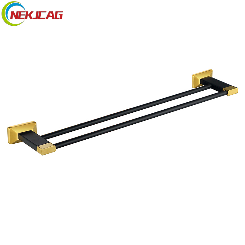 Black Golden Double Towel Bar Towel Holder Solid Brass Wall Mounted Bathroom Hardware free shipping wall mounted brass double towel bar golden color towel ring bathroom accessories towel holder wholesale og 25848c