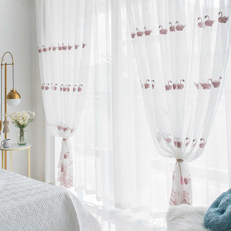 White Swan Window Screening Solid Door Curtains Drape Panel Pink Sheer Tulle For Living Room Embroidered Curtain S174&30