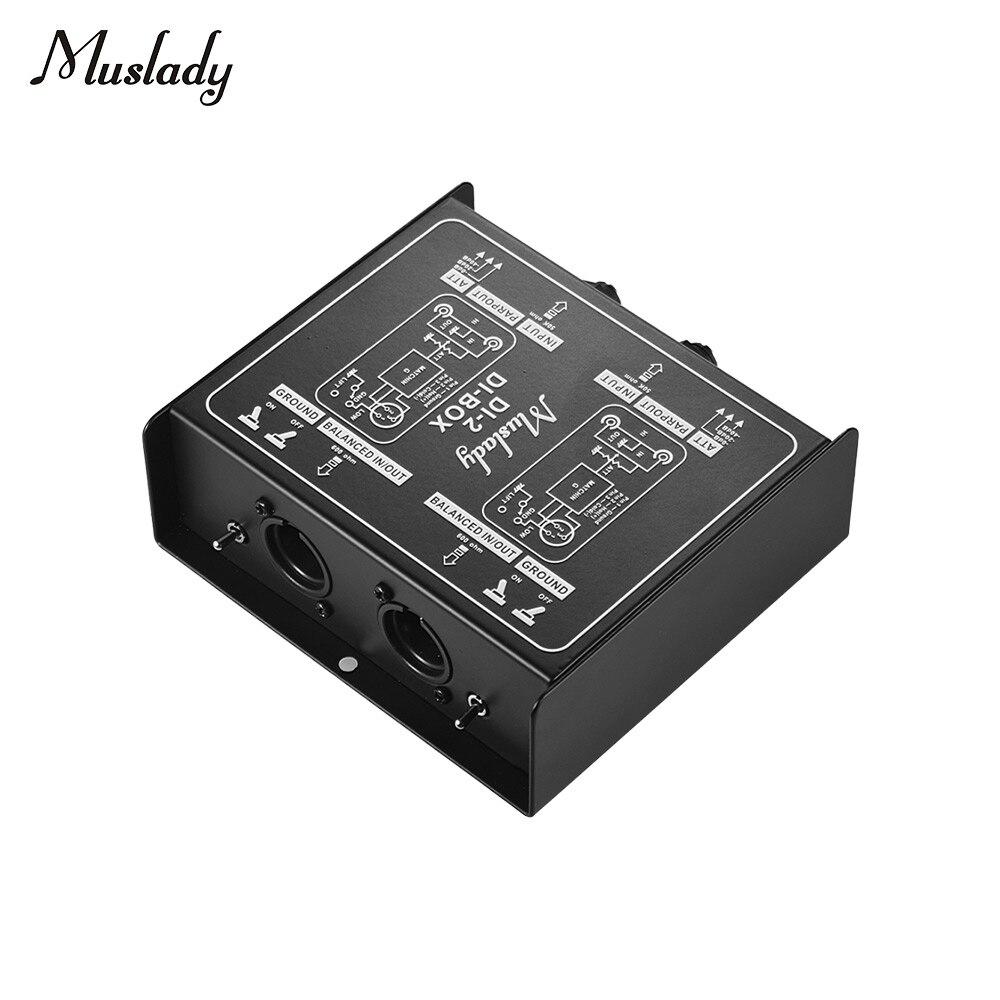 Muslady DI 2 Professional Dual Channel Passive DI Box Direct Injection Audio Box Balanced Unbalance Signal