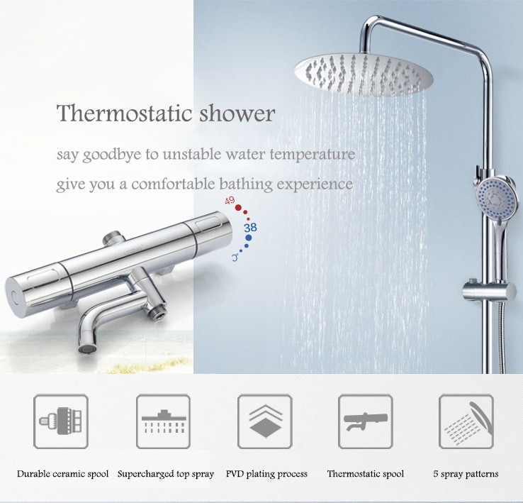 LTENG bath shower set intelligent thermostat control ceramic spool rotatable and lifting shower faucet system free shipping