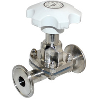 MEGAIRON 19MM 3/4 Diaphragm Valve Sanitary Fitting Clamp Type Ferrule OD 50.5mm Stainless Steel SS316