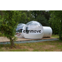 outdoor camping tent with vestibule,hot sale half clear half white inflatable transparent tent,inflatable bubble camping tent