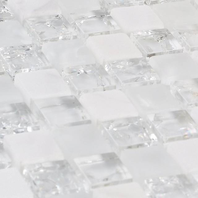 Online Shop White Stone Mixed Ice Crackle Clear Glass Mosaic