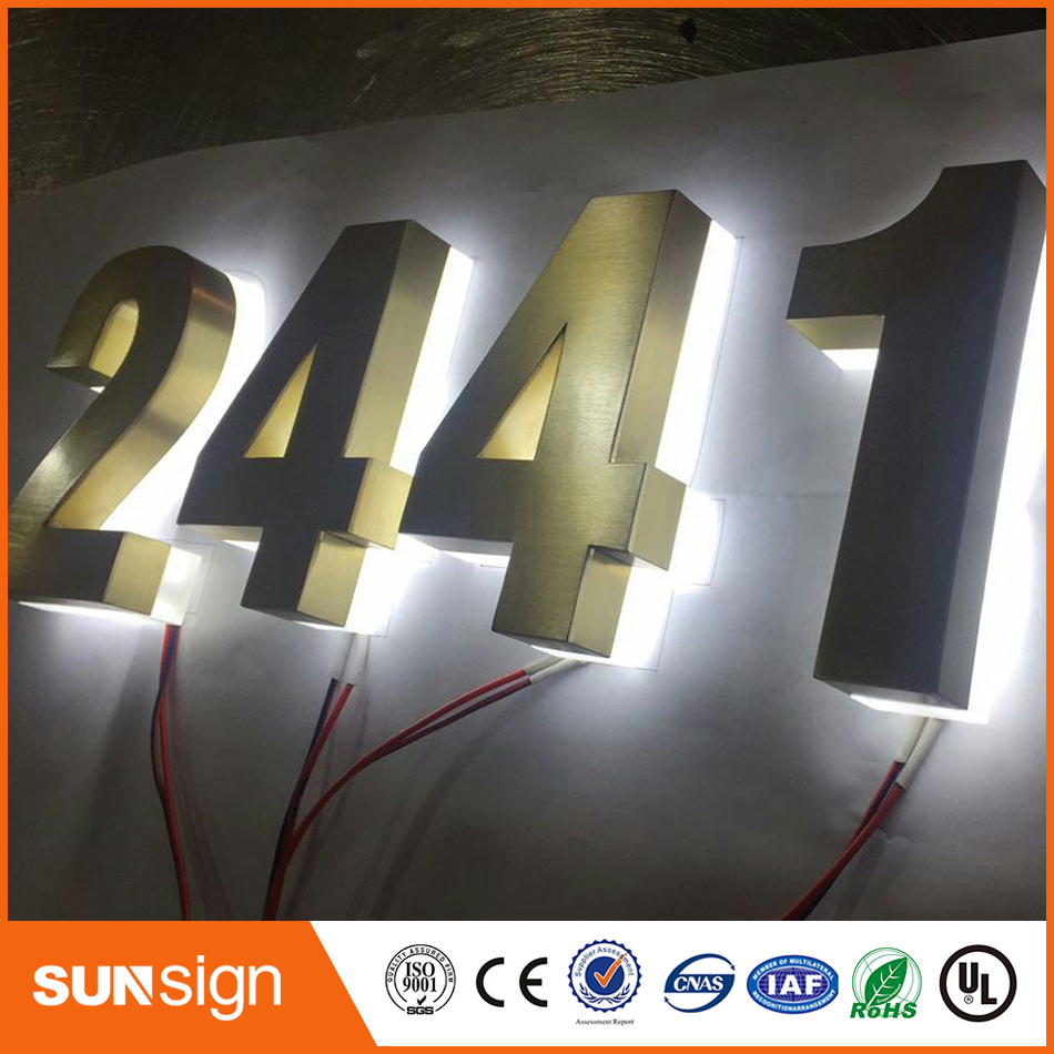 Indoor Custom Golden Color Backlit Led Letters