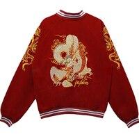 Otoño nueva punk dragón bordado chaqueta de bombardero chaqueta del uniforme del béisbol femenino suelta bf viento