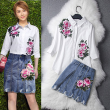 2017 spring summer solid flower embroidery shirt jeans skirt fashion girl's dresses suits S-XL size
