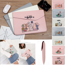Women Man Cartoon Patten Pu Leather Sleeve Case For Notebook 14 inch,Bag Cover For New Thin Acer Dell HP Asus Lenovo 14.1 inch pu leather case cover for lenovo ideapad 510s 14 inch laptop bag notebook protective sleeve pen as gift