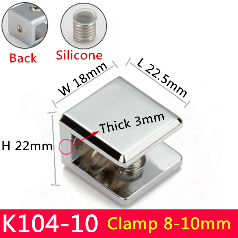 4pairs K104-10 For 8 to 10mm glass board Square shape Glass Clamps chrome finished Zinc Alloy Shelves Support Bracket Clips