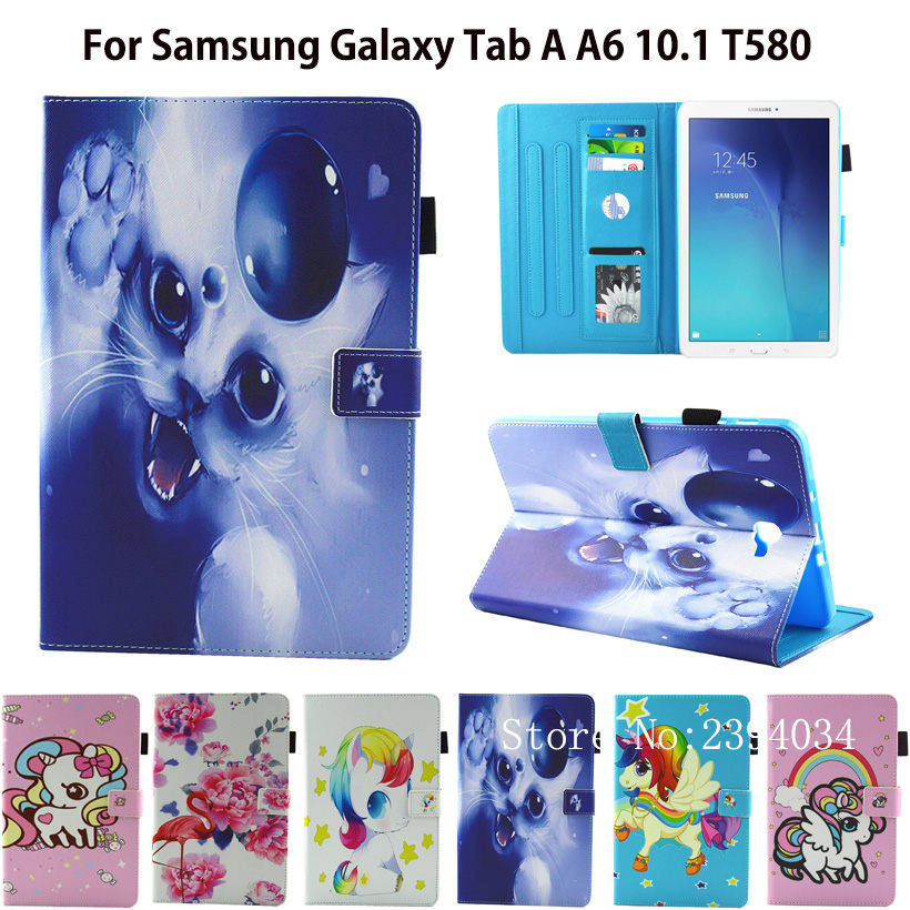 Fashion Case For Samsung Galaxy Tab A a6 10.1 2016 T580 T585 SM-T585 Case Cover Tablet Cartoon Print TPU+PU Leather Shell Funda flip cover pu leather for samsung galaxy tab a6 10 1 2016 t585 t580 sm t585 t580n tablet case cover soft tpu back cover