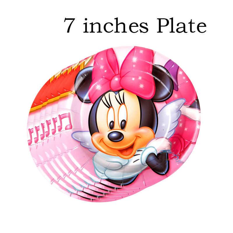 Pcs placa + 30 30 pcs copo de papel copo de papel Bonito Mickey Minnie Mouse dos desenhos animados Decorativo + 7 polegada de papel placa de mesa para o aniversário
