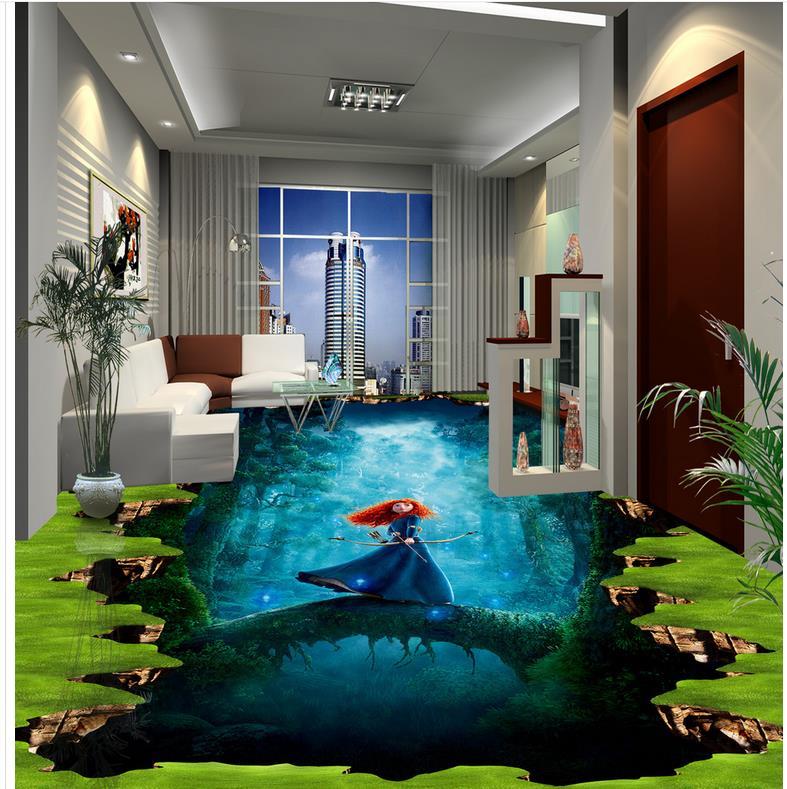 ФОТО Custom Photo self-adhesive 3D floor PVC waterproof floor Home Decoration   3d floor wallpapers